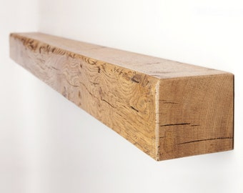 Floating Mantel Shelf made from Chunky Solid Oak with a Choice of Different Rustic Wax Finishes and Sizes 4x4