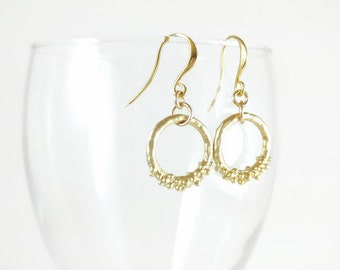 only you: modern delicate circle earrings; unique, simple, everyday gift for her, gold