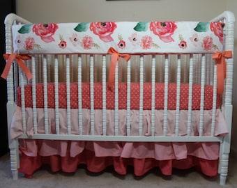 Floral Dreams Baby Bedding Boho Chic Bedding, Floral baby bedding, baby girl bedding, ombre crib skirt, Boho skirt, floral baby blanket.