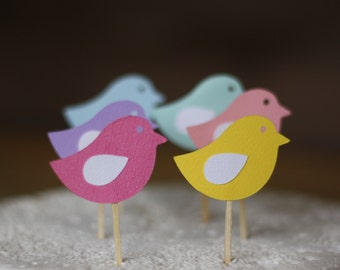 Little birdie cake toppers - pack of 6