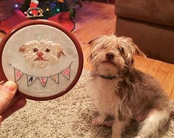 Custom Single Pet Portrait Embroidery Custom Portrait Animal Lover Pet Lover Gift Under 50