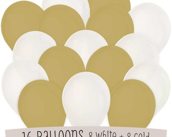 16 White and Gold Latex Balloon Kit - Balloon Bouquet for a Baby Shower, Birthday Party or Bridal Shower