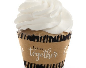 Better Together - Party Cupcake Wrappers - Wedding Party Cupcake Decorations - Set of 12