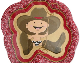 8 Count - Little Cowboy - Western Dinner Plates - Baby Shower or Birthday Party Supplies