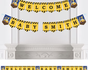 Construction Truck - Bunting Banner - Personalized Baby Shower or Birthday Party Decorations