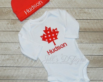 Canada baby etsy personalized custom monogrammed canadian baby onesie and cap set canada maple leaf oh canada baby negle Gallery