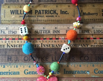Fantastic one of a kind handmade funky artsy necklace! A one of a kind original! Ships free.
