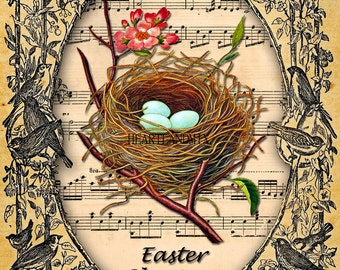 LARGE Vintage Style Easter Download Printable Art Image Nest of eggs