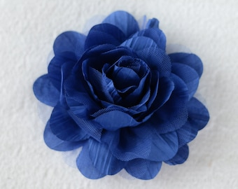 5 inch Crinkle Flower Heads, Wholesale Flower Heads for Headbands, Lot of 1, 2, 5 or 10, Royal Blue