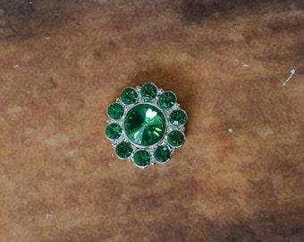 "1"" Rhinestone Flat Back Button, Rhinestone Embellishment for Baby Headbands, DIY Headband Supplies, Rhinestone Buttons LOT OF 1 or 2 Green"