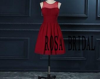 Burgundy bridesmaid dress illusion neck, Short bridesmaid dress Custom Size color