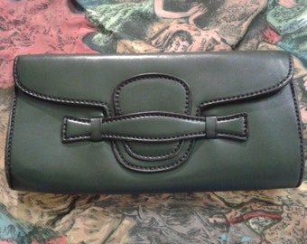 SALE *** 1930s Art Deco Forest green leather clutch purse