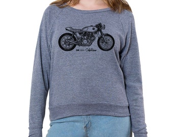 Yamaha SR400 Cafe Racer Graphic printed on Women's American Apparel long sleeve pullover