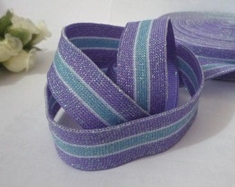 5 yds / 10 yards Middle Purple with Light Blue Stripes  Glitters Polyester Knitted Tape Flat Tape Clothing Trim 3/4 inch / 19 mm width L505