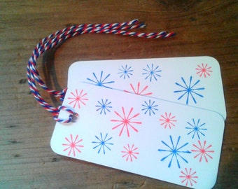 Hand Stamped Tags - 4th of July Fireworks! , set of 12