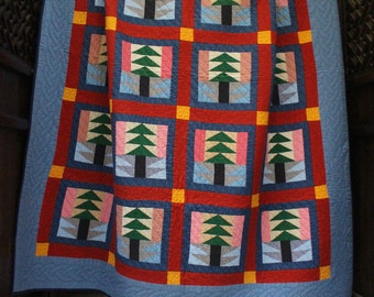 Tree Quilt - Red Green Yellow
