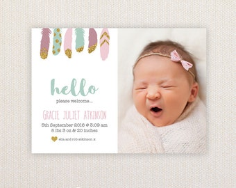 Girls Photo Birth Announcement. Glitter Feathers. I Customize, You Print.