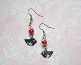 Earrings silver bird + red