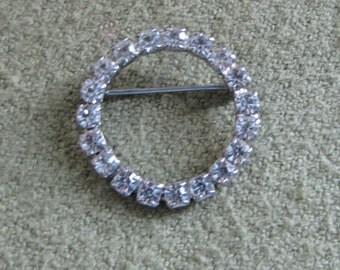 Rhinestone Circular Brooch