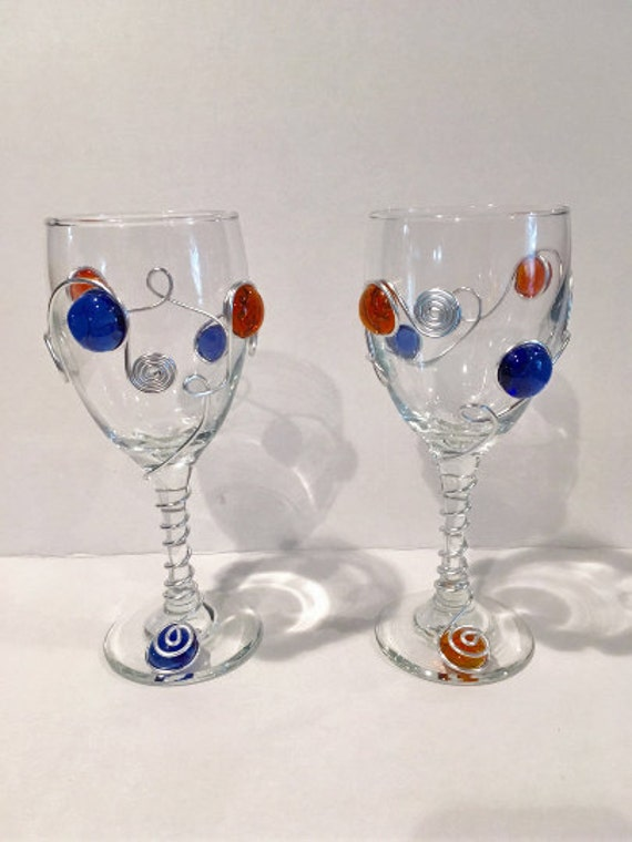 Sport Themed Wine Glasses-Set of 2, Detroit Tigers, Wire Wrapped Wine Glass, College School Colors, Wedding Colors, Custom Wine Glass