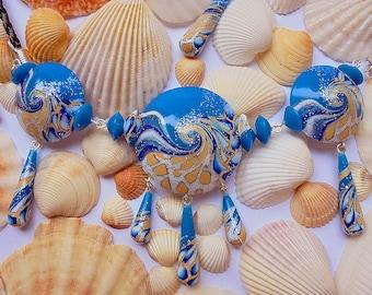Ocean necklace, Nautical necklace, Blue necklace, Wave necklace, Marine necklace, Beach necklace, Polymer Clay necklace, Ocean jewelry