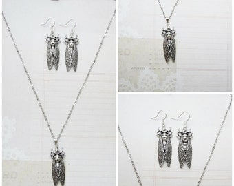 Silver Cicada Necklace and Earring Jewelry Set - Ready to Ship
