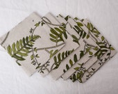 """Set of 6 Napkins 16"""" grey with green leaves linen dinning table decor flax linens housewares tablecloth home decoration Easter holiday"""