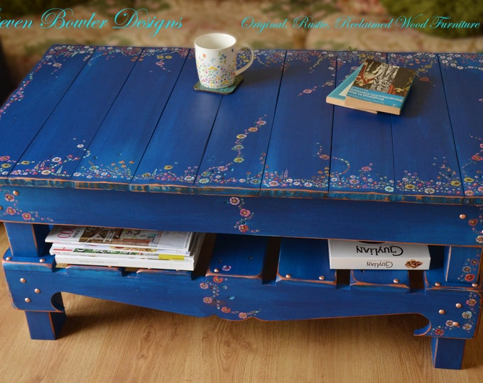 Bespoke Rustic Reclaimed Wood Country Cottage Coffee Table Hand Painted in Indigio Blue and English Country Cottage Flower Design