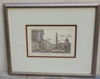 Vintage Original Art Etching of Italy!