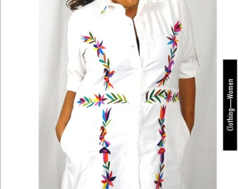 Otomi Shirt Dress #OtomiDresses handembroidered by indigenous Women. 100% cotton (Muslin). Naturally dyed. Socially Responsible
