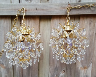 Pr Vintage Hollywood Regency Glass Crystal Hanging Chandelier Swag Boudoir Light