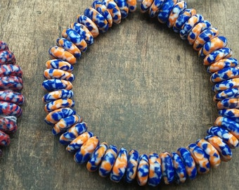 "African recycled glass spacer beads, ""otaaka"", 50 beads, opaque, orange/blue/white"