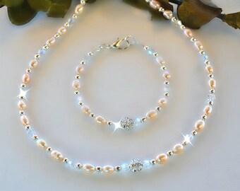 Fresh Water Pearl Set/Girls or Women's/Peach Pearls