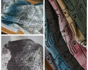 Cats Gradation Cotton Blended Knit Fabric, Cotton Blended Jersey Fabric by Yard - 5 Colors Selection