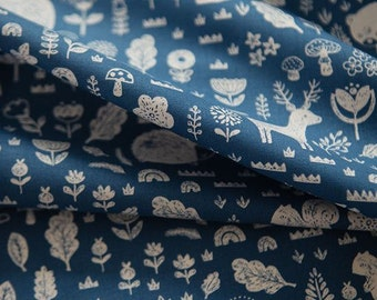 Animal Forest Pattern Cotton Fabric by Yard (Deep Blue)