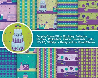 Birthday Digital Paper Printable Watercolor Happy Birthday Cake Backgrounds Party Paper Pack Cakes Balloons Presents Birthday Scrapbooking