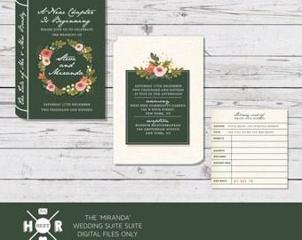 Printable - The 'Miranda & Steve' Floral Library Wedding Suite in Green | Invitation | RSVP | Book | Novel | Romantic