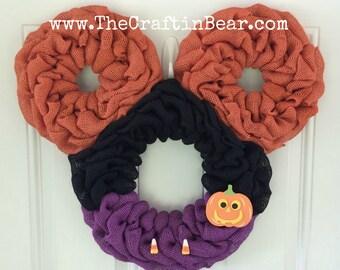 Halloween Mickey Mouse wreath - Burlap wreath - Mickey Mouse wreath - party decor - Halloween wreath - Halloween decor - trick or treat