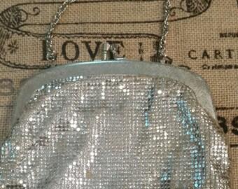 Vintage silver sequined handbag purse clutch