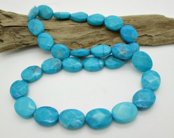 Blue Turquoise Howlite Faceted Oval Beads, Blue Stone Bead, Southwestern Oval, 14x11mm (14)