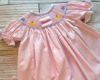 Pink Birthday Smocked Bishop Dress