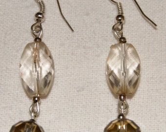 Earrings with faceted smoky quartz beads