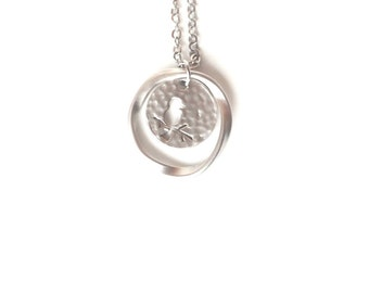 Silver Bird Necklace, Valentine's Day Gift, Silver Circle Necklace, Hammered Necklace, Tiny Gold Necklace, Disc Necklace, Canada