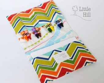 Crayon Wallet, Crayon Holder, with 8 Crayons & Notepad, Art Party Favors, Wedding Favors Kids, Birthday Favors, Organizer, Stocking Stuffer
