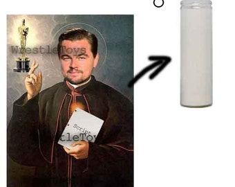 Leonardo DiCaprio Script and Oscar Funny Prayer Candle Great Gift for Leo Fans! Made to Order