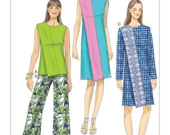 Vogue Pattern V9185 Misses' Diagonal-Overlay Top, Dresses and Straight-Leg Pants
