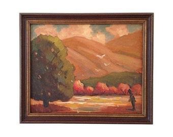 1960s Oil Painting, Autumn Fields