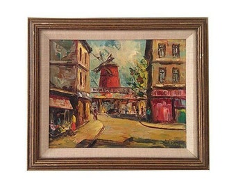 1950s French Oil Painting, Moulin Rouge