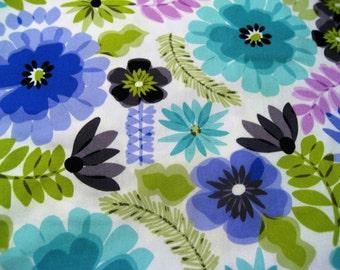 Big Blue Retro Flowers on Heavyweight Cotton - Nearly 2 Yards