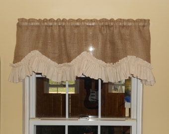 Country Burlap Valance with Priscilla ruffle in Creme Muslin or White Muslin!